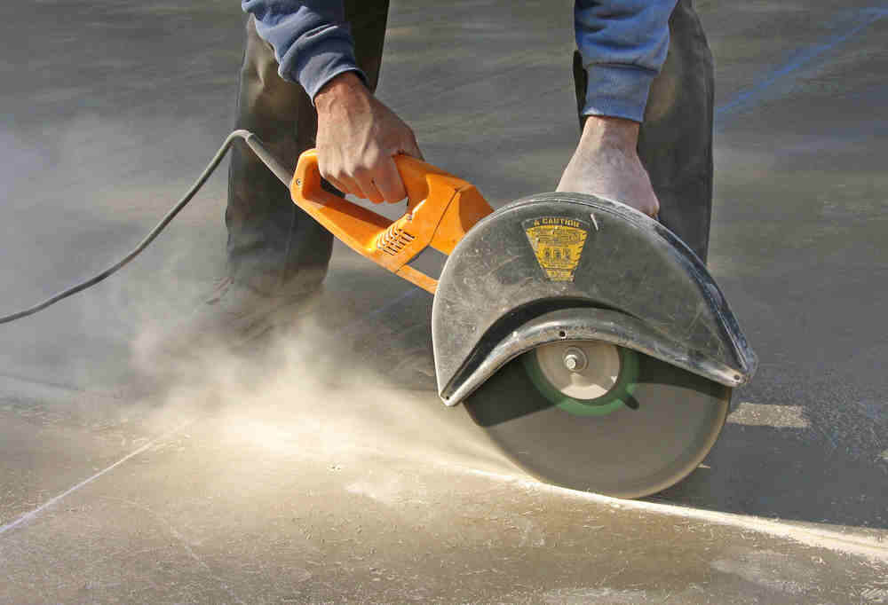 Dust from cutting concrete
